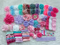 Deluxe DIY accessories kits set ,Baby Shower Headband, shabby flowers Rose hair bow Trim ,Birthday /christmas day gift  H