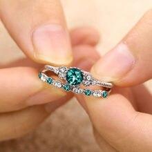 FNIO 2 unids/set de anillos de cristal verde y azul de lujo para mujer, anillo de compromiso de amor de boda con piedra, joyería, regalo A la venta directa