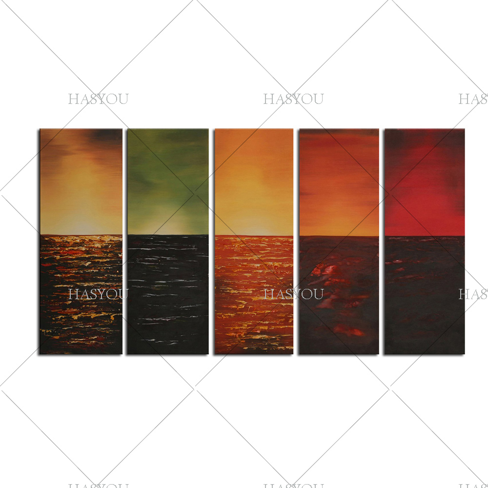 Handmade Canvas Oil Paintings Decoration Abstract Rainbow Colour Modern Art 5pcs Large Wall Pictures For Living Room