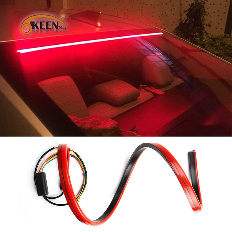 OKEEN Super Bright Red Flowing Flashing additional Car Third Brake Light Tail High Mount Stop Lamp 12V Car Turn Signal Strip