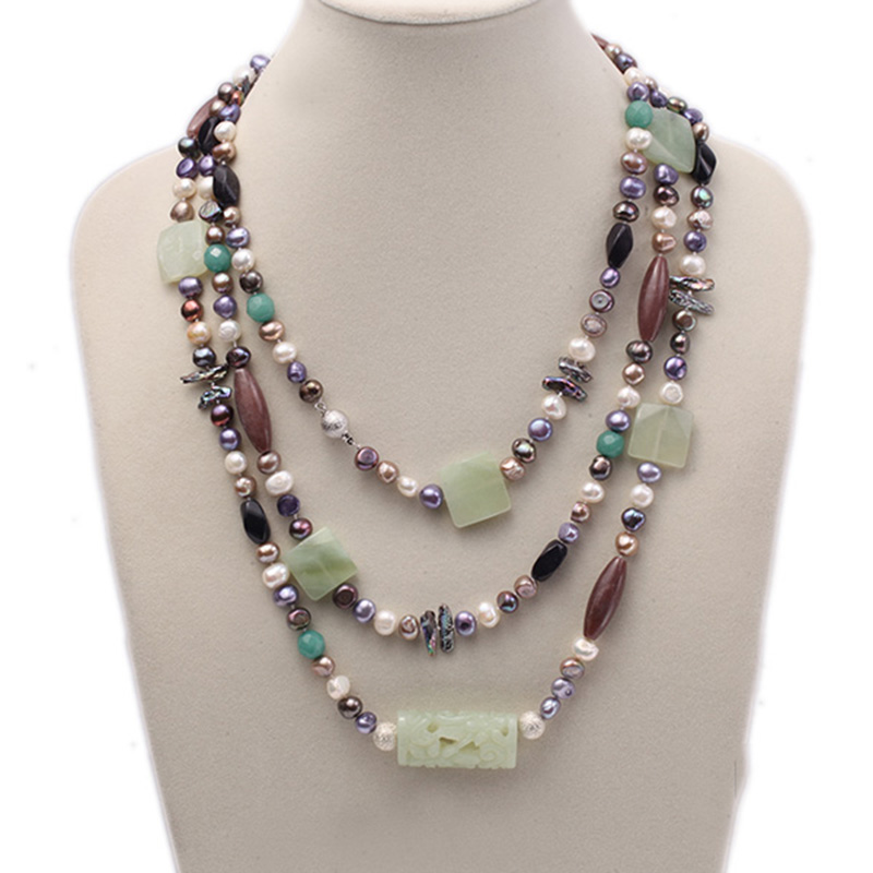 JYX Special necklace mixed Pearl Jade and Agate Long Stand Neckalce 7 9mm Multicolor Flat Freshwater Cultured Pearl Necklace 75