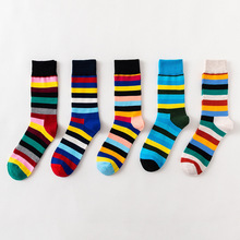 5 Pair/set Fashion Striped Socks Crew Socks Harajuku Rainbow Men's Socks Combed