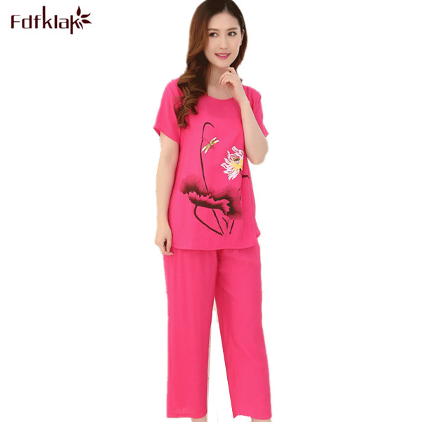 4fa422afa8 Detail Feedback Questions about Summer Pajamas Plus Size XL XXL 3XL 4XL  Casual Women Pajama Set Cotton Pijamas Suit Ladies Sleepwear Pyjamas Home  Clothes ...