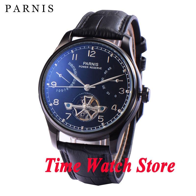 Parnis 43mm PVD case power reserve Black dial date Automatic Self-Winding movement Men's watch men 911 цена и фото