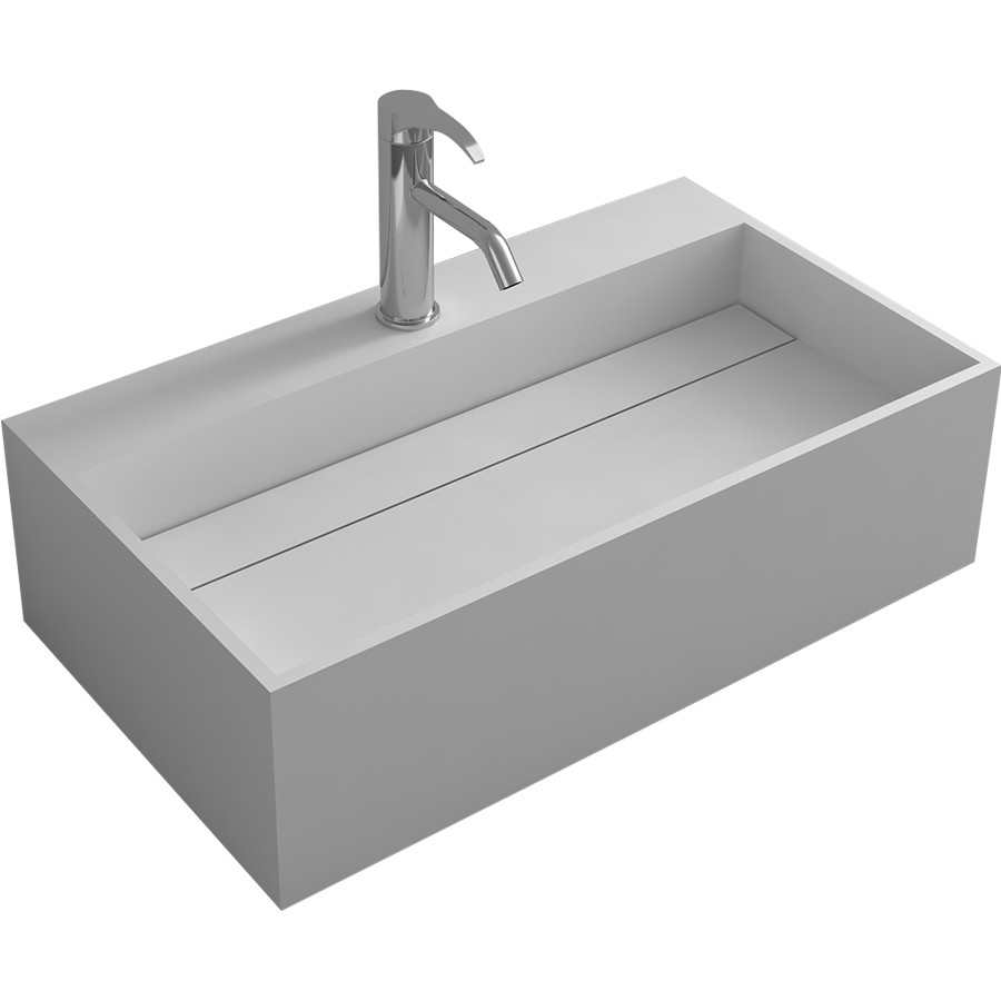 Rectangular CUBE 70cm Wall Hung/Counter Top Washbasin Stone Solid Surface Cloakroom Vessel Sink RS38439