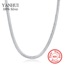 YANHUI Original Real Solid 925 Sterling Silver Necklace Fashion Vintage Jewelry Snake Chain Collar Necklace for Women N881
