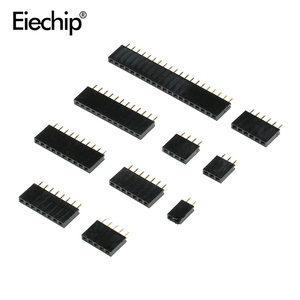 Pitch 2.54mm Pin Stright Female Single Row Pin Header Strip Connector Kit for PCB board 2/3/4/5/6/7/8/10/20/40 pin