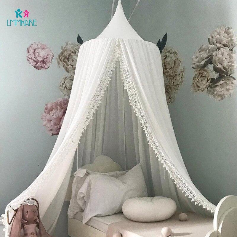 Coton bébé moustiquaire dôme tente lit rideau dentelle couleur unie bébé berceau filet enfants décoration de la maison bébé ensemble de literie