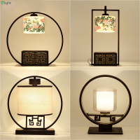 Retro New Chinese Metal Round Body Painting Ceramic Shades Foyer E27 Led Table Lamp Classic Fabric