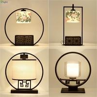 Китайский ретро сельских металлический E27 LED Настольная лампа Блеск Керамика/Стекло Спальня свет таблицы простой стол Освещение огни свети