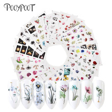 Pooypoot 24Pcs Nail Stickers Water Decals Mixed Design Watercolor Floral Sticker Transfer Slider Art Accessories