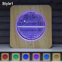 Battery USB 3D Projector Night Light Earth American football 7 colors Change Lamps Touch Remote Control Kids Home Desktop Decor