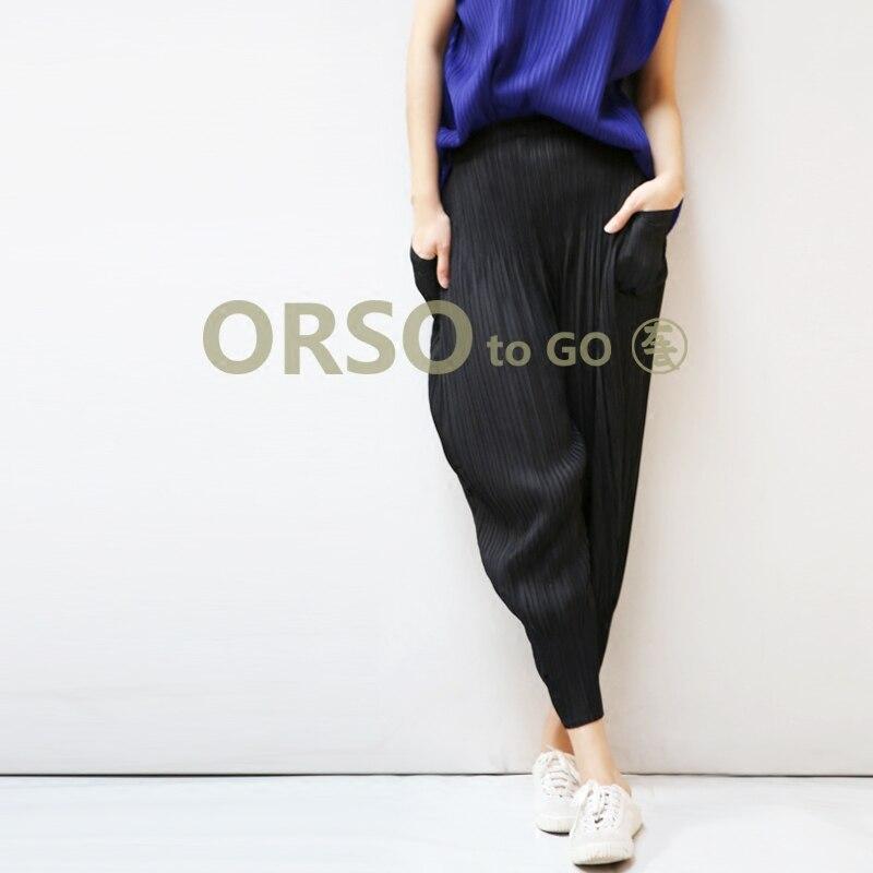 Azterumi Issey Miyake Summer 2019 Pleated   Wide     Leg     Pants   Women Casual Loose Mid Waist Ankle-Length   Pant   Black Beige Blue Grey