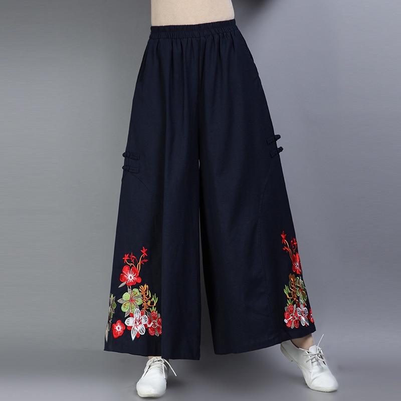 Women's   Wide     Leg     Pants   Vintage Elastic Waist Pocket Floral Embroidery Trousers Autumn Female Cotton Linen Ankle-Length   Pants