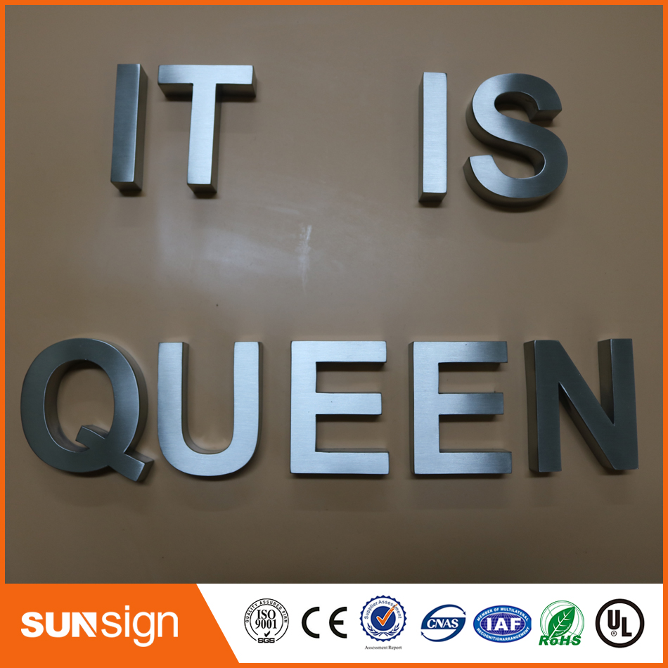 Custom Store Front Sign Brushed 3d Metal Sign Letters