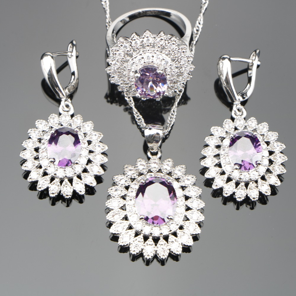 Women Purple Zircon Silver 925 Bridal Jewelry Sets Costume Pendant/Necklace/Rings/Earrings Set With Stoes Jewelery Gift Box