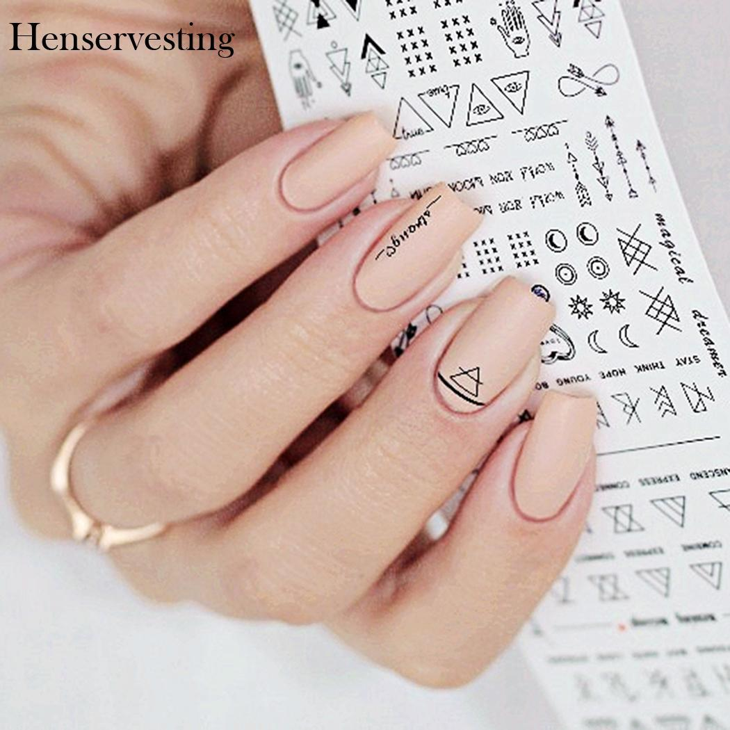 2 Sheet/Set Nail Sticker Decals Waterproof Art Letter Geometry Simple Pattern Nail Sticker DIY Nail Art Decoration
