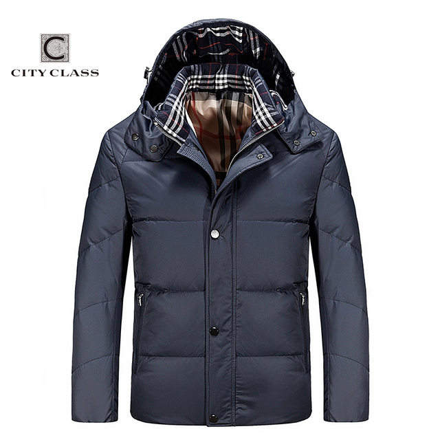 City Class 2016 New Ultralight Mens 90% White Duck Down Jacket Autumn Winter duck down coat windproof removable hat for male 595