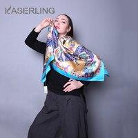 Kaserling 90x90 см шелковый шарф Элитный бренд Для женщин бандана Шелковый головной Шарфы для женщин палантины Для женщин чистого шелка шарфы площ