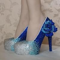 Royal Blue crystal bride wedding shoes super heels luxury flower diamond princess proms dancing party shoes blue silver HS160