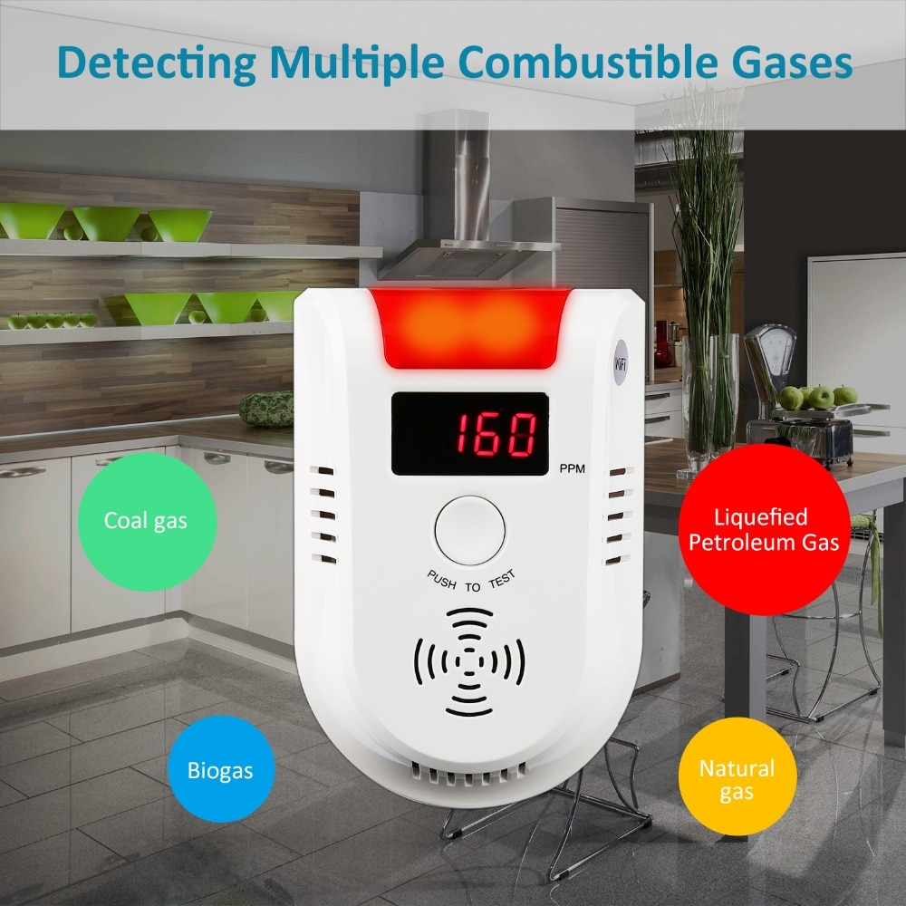 SECRUI WIFI APP Voice Prompt Combustible Gas Leakage Detector Alarm System Display Screen Wireless Security Gas Sensor Alarm телефон мобильный alcatel onetouch 2008g