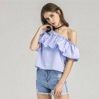 2017 Kadınlar Seksi Yaz Ekose Üstleri Ofis Moda Fırfır Bluzlar Zarif Casual Streetwear Plaj Bayanlar Boho Saray Gömlek