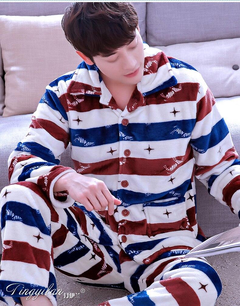Men's Pajamas Flannel Long Sleeved Winter Coral Velvet Homewear Male Outer Wear Cartoon Nightwear Plus Size Leisure Wear D-2071
