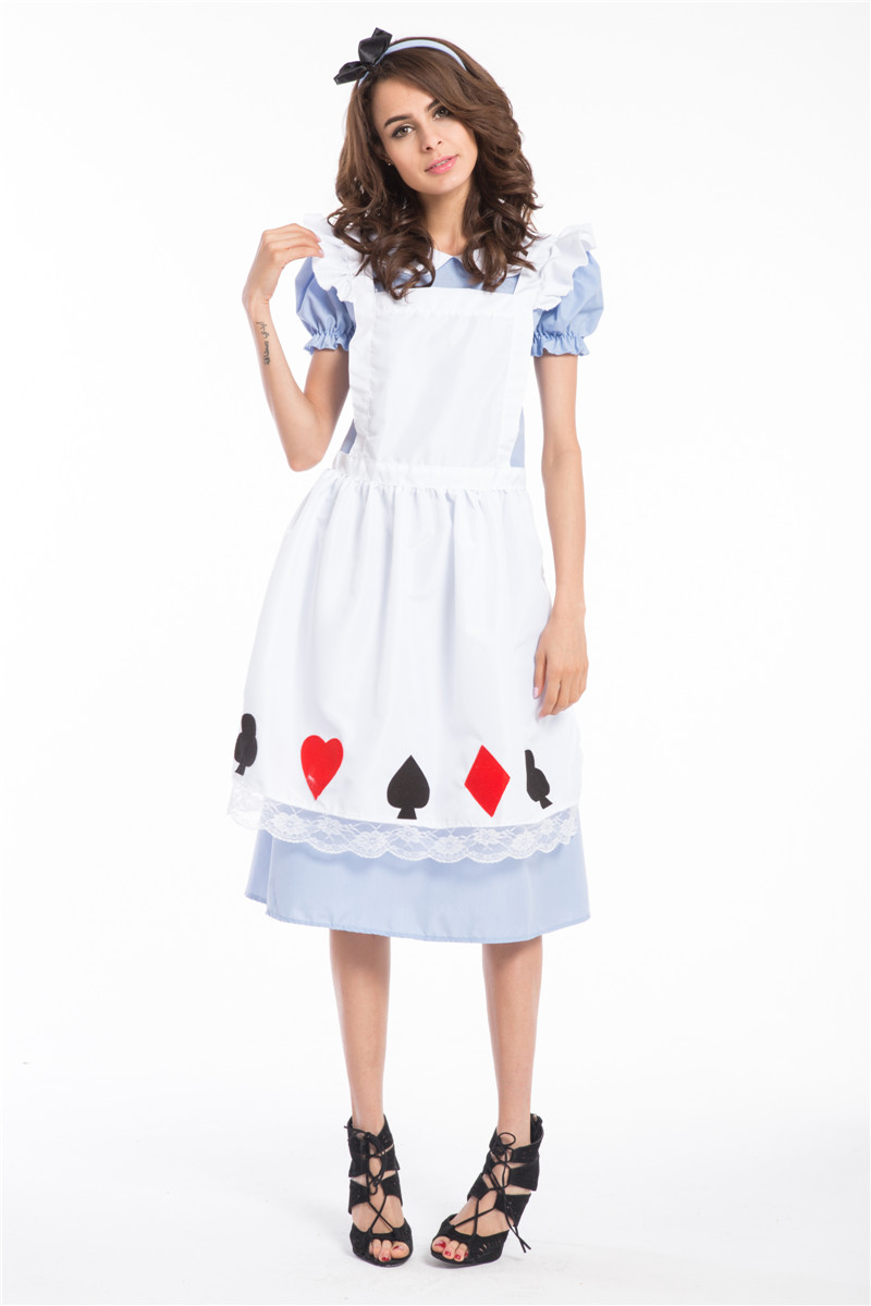 Free Shipping Alice in Wonderland Ladies Fancy Dress Party Card Halloween Costume