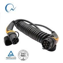 32A однофазный кабель EV Тип 2 к Тип 2 IEC 62196 EV зарядное гнездо с 5 метров со спиральным кабелем TUV/UL Mennekes 2 разъема