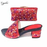 Замечательный Красный Высокий каблук Сандалии обувь и сумка в африканском стиле Вечерние комплекты с цветными камнями CSB14