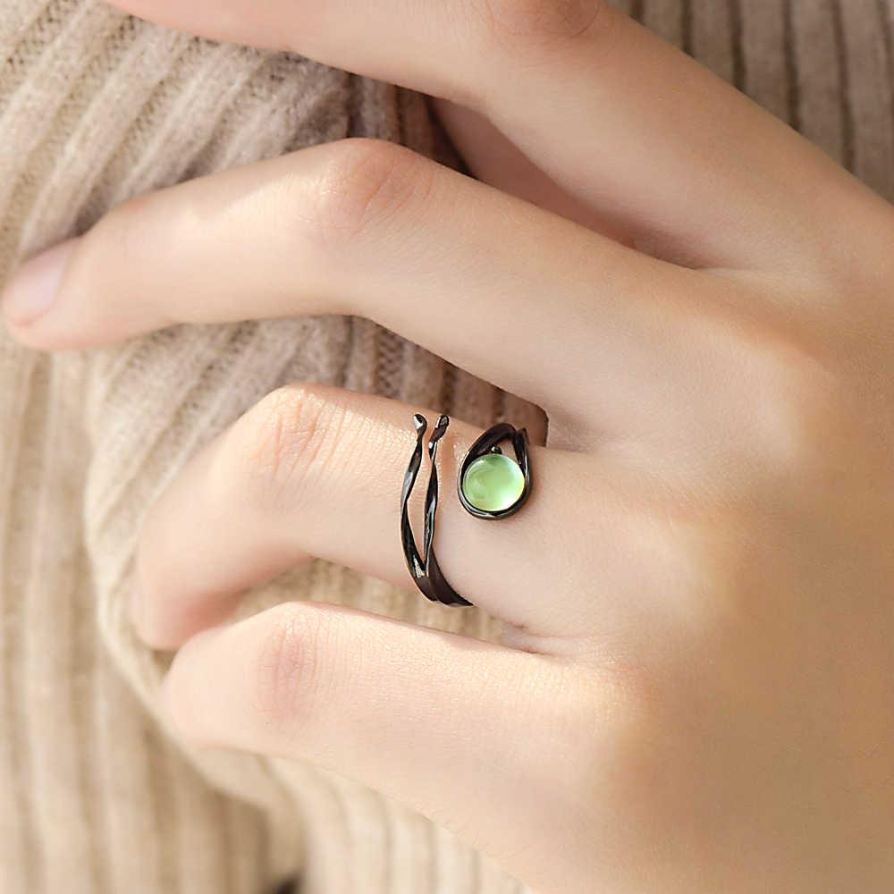 Thaya บินดาวตก Chalcedony แหวนมรกตความตึงเครียด Vintage อัญมณีหินสีดำ S925 แหวนเงินแท้สำหรับผู้หญิง