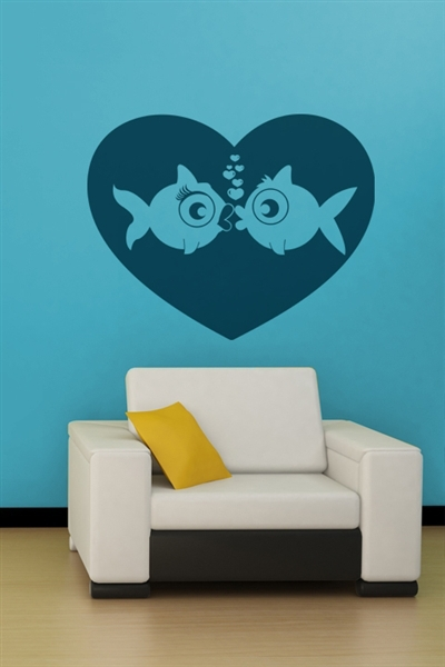 Fish Love wall decals vinyl stickers home decor living room wall pictures  bedroom wall stickers removable wall decal-in Wall Stickers from Home &  Garden on ...
