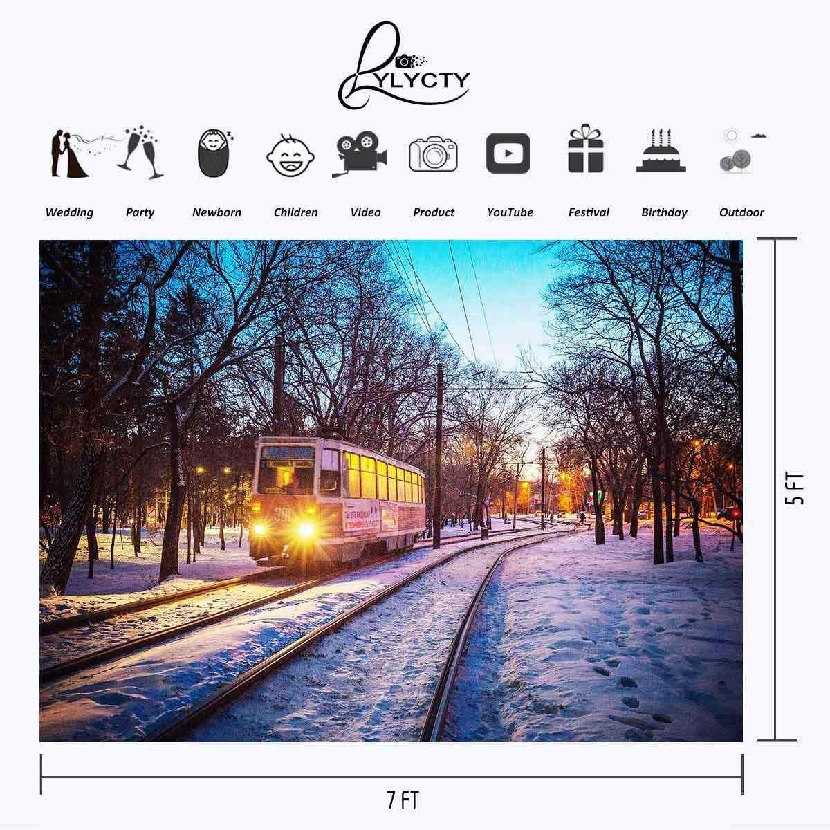 7x5ft Зимний снег фон бегущий поезд утренний парк фотография фон