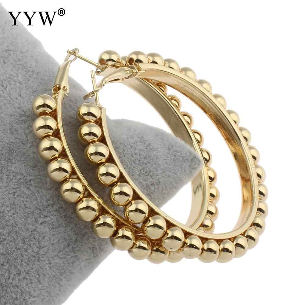 Big Size 57mm Hoop Earrings for Women Classic Round Beads Gold Circle Women Jewelry Accessory Punk Brincos Pendientes