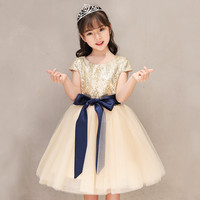 Elegant Gold Lace Flower Girl Dresses Girl Party Dress Ball Gown Christmas Birthday Clothes for 2 13 year Tulle Gown