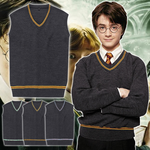 New 4 Styles Harry Potter Cosplay Costume Gryffindor Hufflepuff Ravenclaw Slytherin school uniform vest sweater vest  Hermione