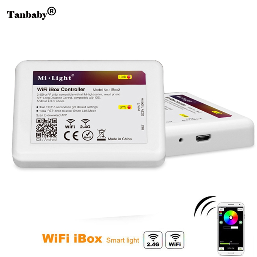 Tanbaby DC5V 2.4G LED Mi-Light WiFi iBox remote Controller compatible with all Mi-Light 2.4GHz LED Bulb support IOS and Android dhl ems free shipping 5pcs lot new 2 4g dc5v wifi led controller with usb cable compatible by iphone ipad and android system