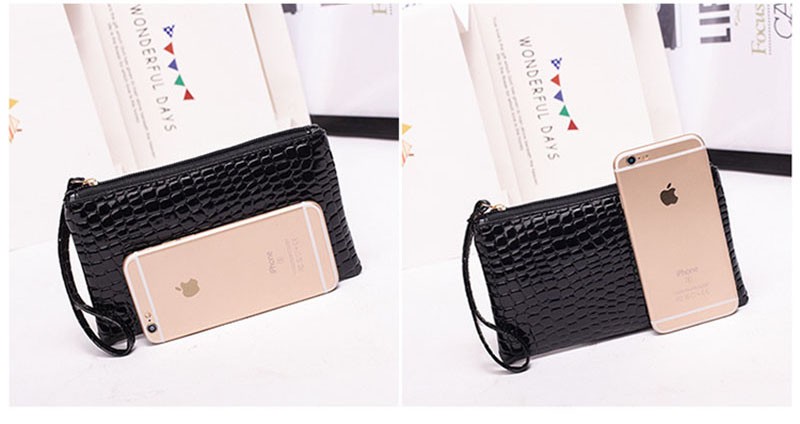 New Mini Day Clutches Women's Bag Korean Version Crocodile Pattern Clutch Bag Ladies Mobile Phone Bags Wallet PU Leather Handbag (6)