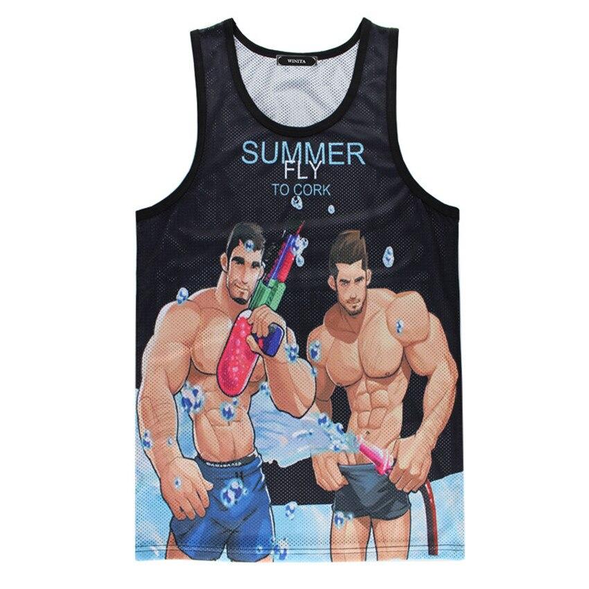 Summer Mens Bodybuilding Tank Tops 3D Printed Galaxy Street Workout Tank Top Men Breathable Mesh Fitness Singlets Sleeveless