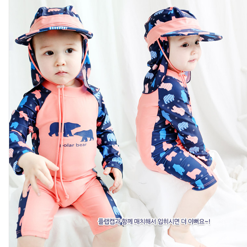 Schietto Nuovi Modelli Di 1-8 Anni Del Bambino Di Un Pezzo Costumi Da Bagno Modello Dell'orso Dei Bambini Costume Da Bagno Nuoto Swim Cap Protezioni Coreano Rashguard Sconti