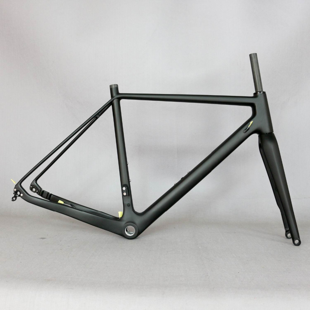 цена на 2019 Thru Axle 142mm disc cyclocross carbon frame Gravel 700C Carbon Bike Frame, Di2 Carbon Cyclocross Frame with 100*12mm fork