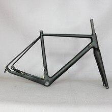 2021 eje pasante 142mm Marco de carbono de ciclocross grava 700C cuadro de bicicleta de carbono, Di2 cuadro de ciclocross de carbono con horquilla de 100*12mm