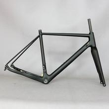 2021 przez oś 142mm tarcza cyclocross rama karbonowa żwir 700C węgla rama rowerowa, Di2 węgla Cyclocross rama z 100*12mm widelec