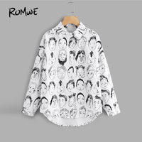 ROMWE Black And White Figure Print Single Breasted Shirt 2018 New Cartoon Collar Long Sleeve Woman