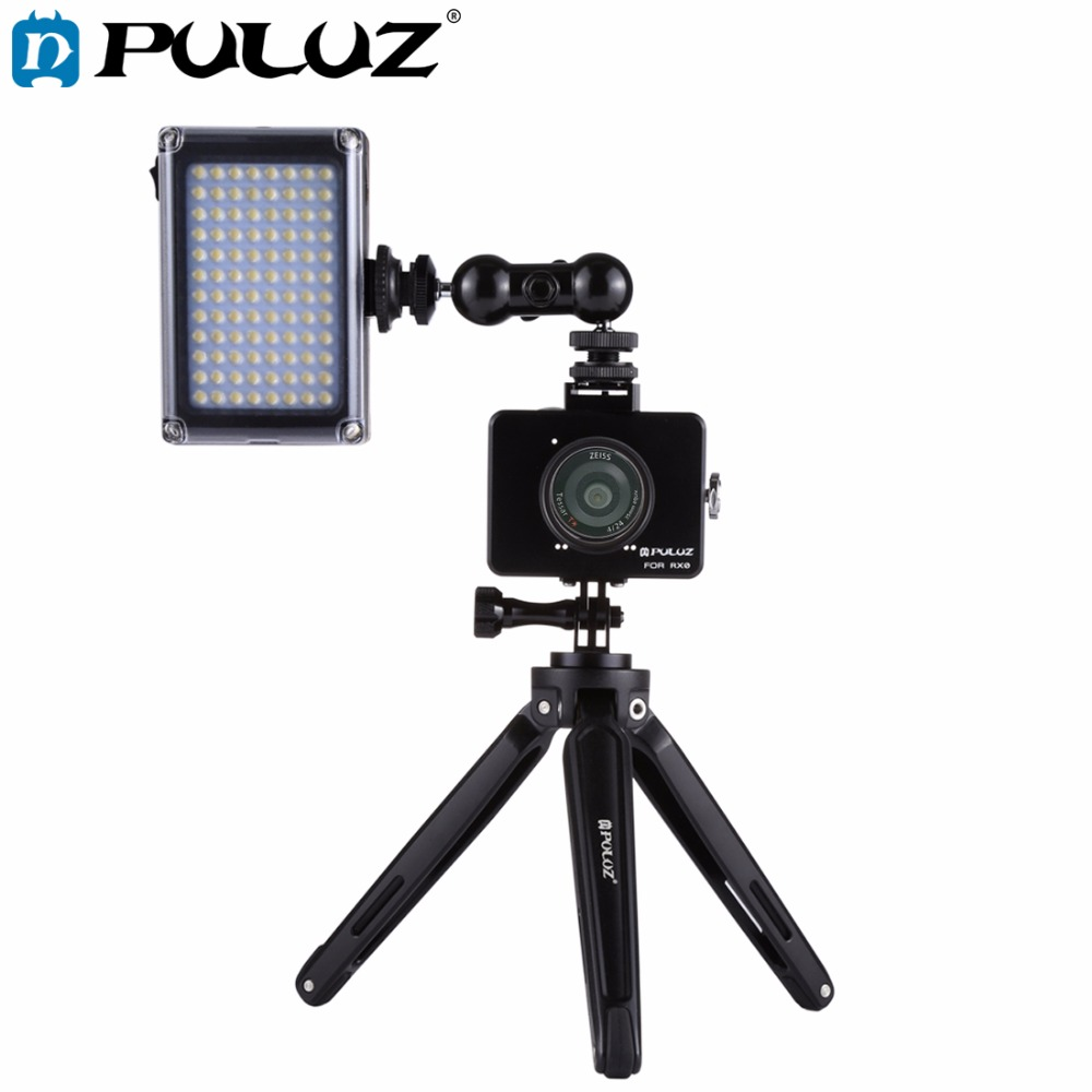 PULUZ for Sony RX0 Housing Shell Aluminum Alloy Cage+Swivel Ball Head Magic Arm +Desktop Tripod Mount + Photo Studio Light Kit