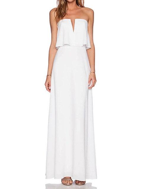 69fc549bf5 Off Shoulder Ruffle Tube Dress Women Summer Long Maxi Beach Casual Dress  Party Dress Strapless Fashion Elegant 2016 High Quality