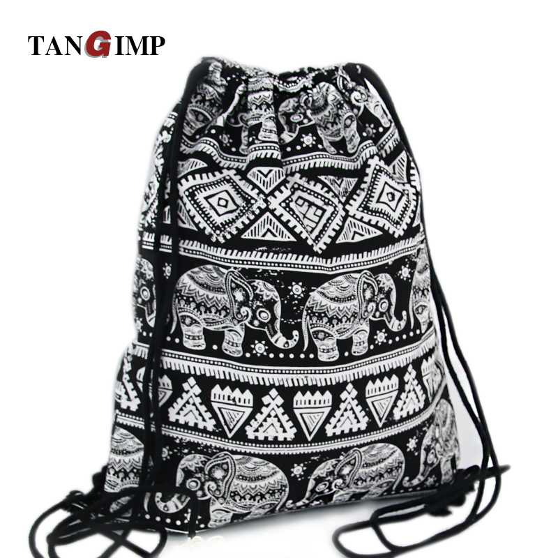 TANGIMP 2018 Drawstring Backpacks Bags Ethnic Elephant Travel Canvas Softback Man Women harajuku Vintage Beach Bags Black White небесный фонарик orange 82100 бриллиант