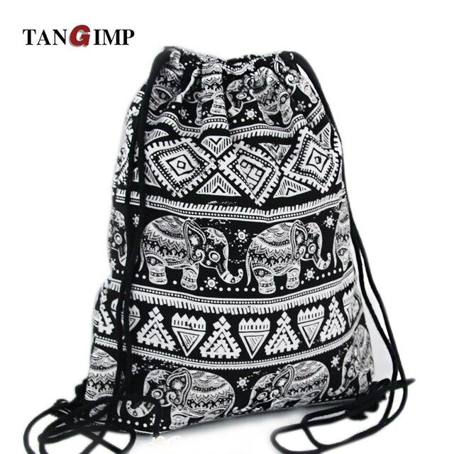 03305779ab48 TANGIMP 2018 Drawstring Backpacks Bags Ethnic Elephant Travel Canvas  Softback Man Women harajuku Vintage Beach Bags Black White