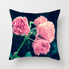 Fuwatacchi Pink Flowers Rose Pillow Case 45*45 Home Throw Pillows Soft Decorative Cushion Cover for Sofa Chair Pillow Covers