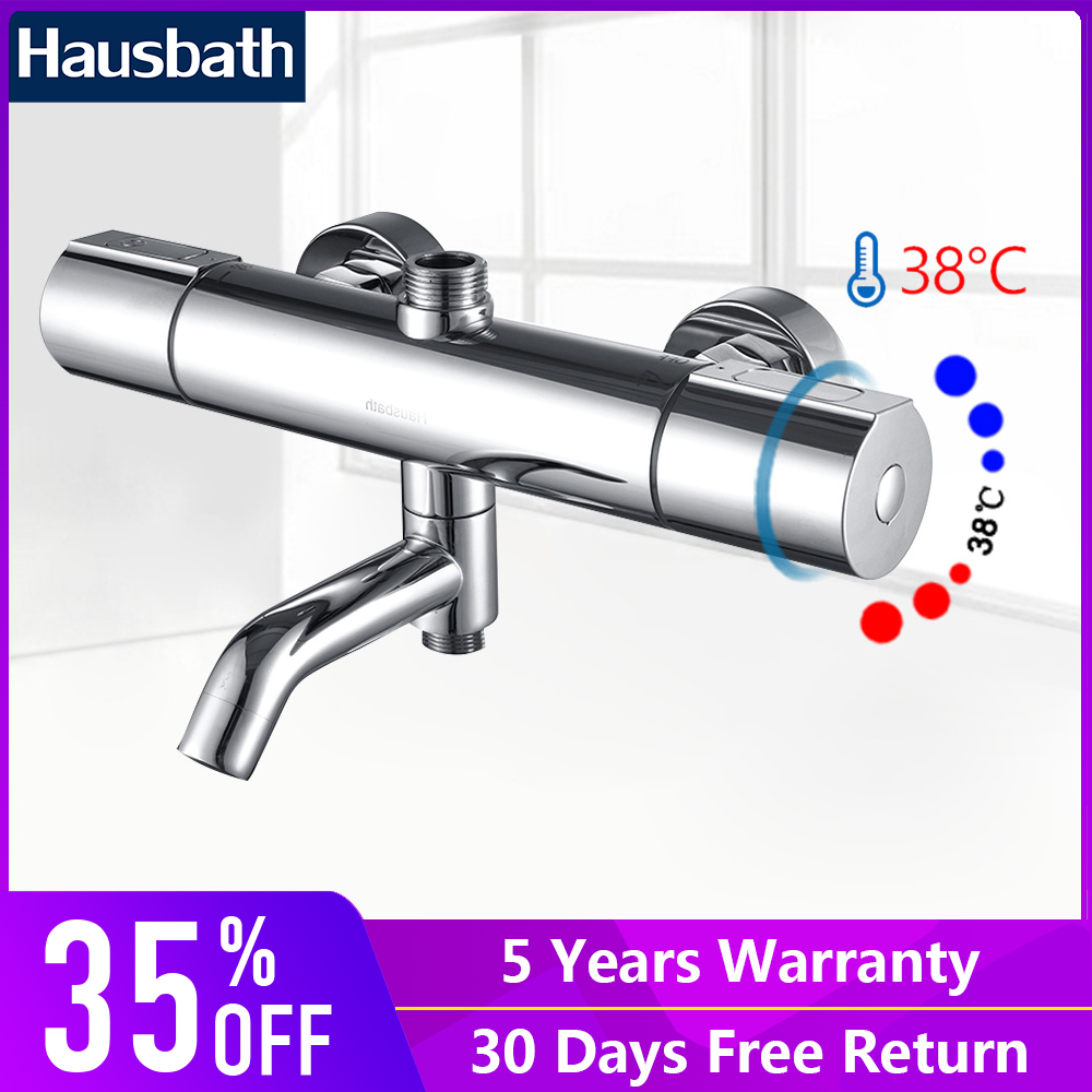 Bath Thermostatic Shower Faucet Mixer Valve Temperature Control Bathroom Shower Faucet Wall Mounted Chrome Finishing yanksmart wall mounted thermostatic faucet double handles faucet spout filler diverter chrome bathtub shower faucet valve mixer
